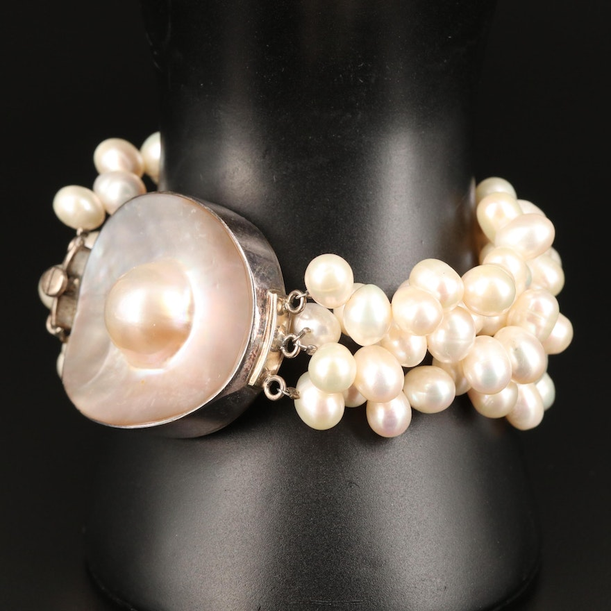 Sterling Silver Multi-Strand Pearl Bracelet with Blister Pearl Center