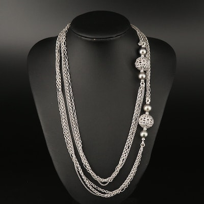 "David Yurman ""Quatrefoil"" Sterling Silver Pearl and 1.20 CTW Diamond Necklace"