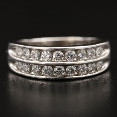14K  Double Row Channel Set Moissanite Band
