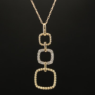 14K Diamond Geometric Pendant Necklace