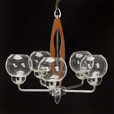 Mid Century Modern Wood and Metal Five Arm Chandelier, Mid-20th Century