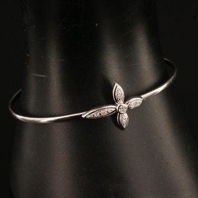 Sterling Diamond East West Cross Bangle