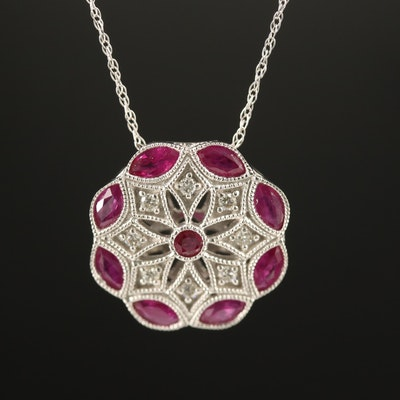 Vintage Style 14K Ruby and Diamond Pendant Necklace