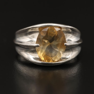 Sterling Silver Citrine Concave Ring