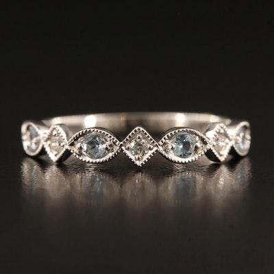 10K Aquamarine and Diamond Geometric Band