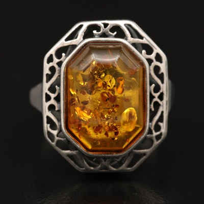 Sterling Silver Amber Open Scrollwork Ring
