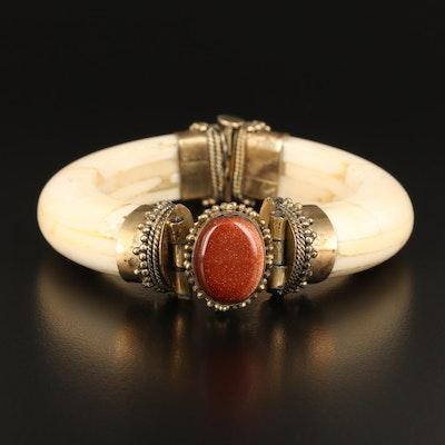 Tribal Goldstone Glass and Bone Hinged Bangle