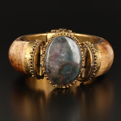 Indian Agate and Bone Hinged Bangle