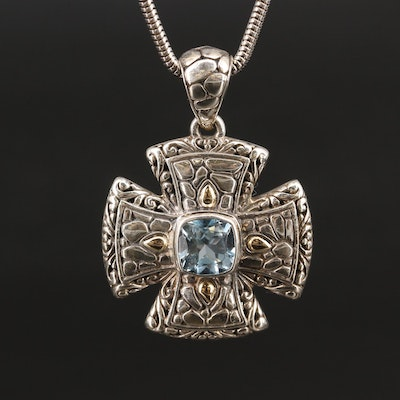 Sterling Topaz Cross Pendant Necklace with 18K Accents