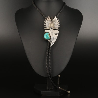 Western Style Sterling Silver Feathers and Turquoise Arrowhead Bolo Tie
