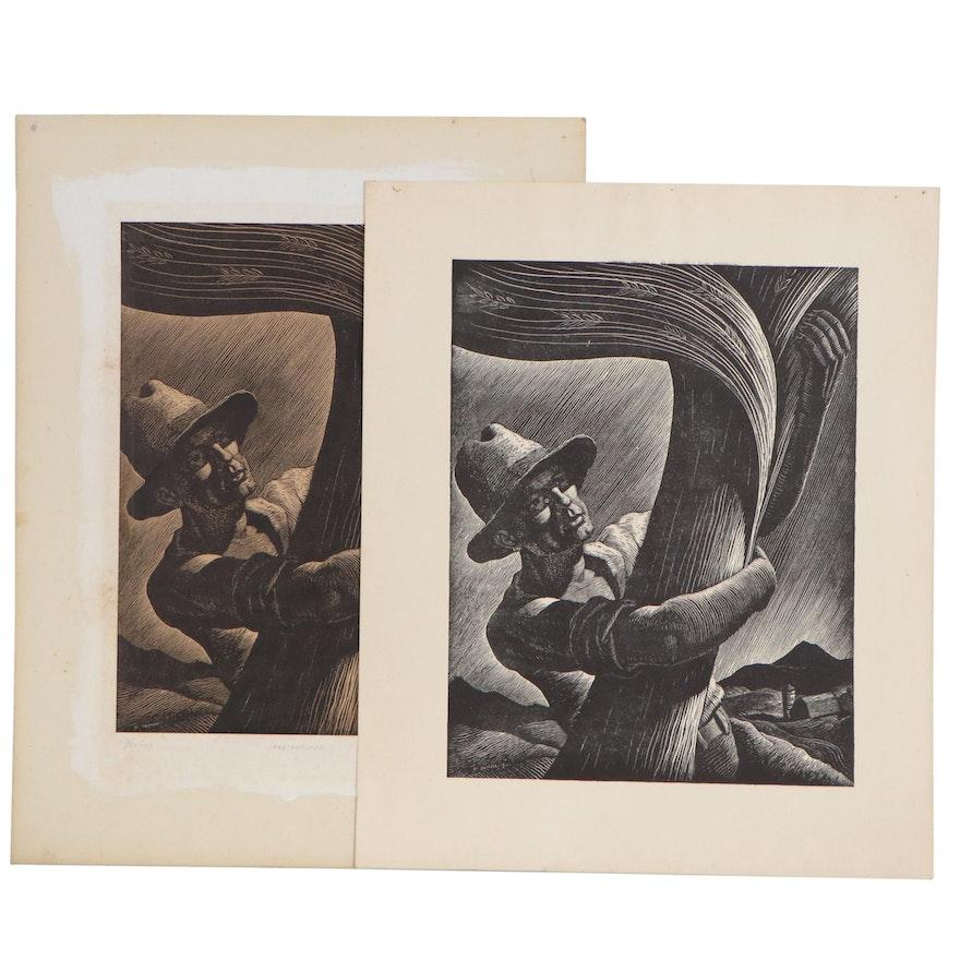 """Joseph Di Gemma Woodcuts """"The Farmer"""", 1942-1943"""