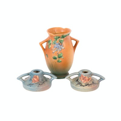 "Roseville Pottery ""Columbine"" Vase and ""Magnolia"" Candle Holders, Mid-20th C."