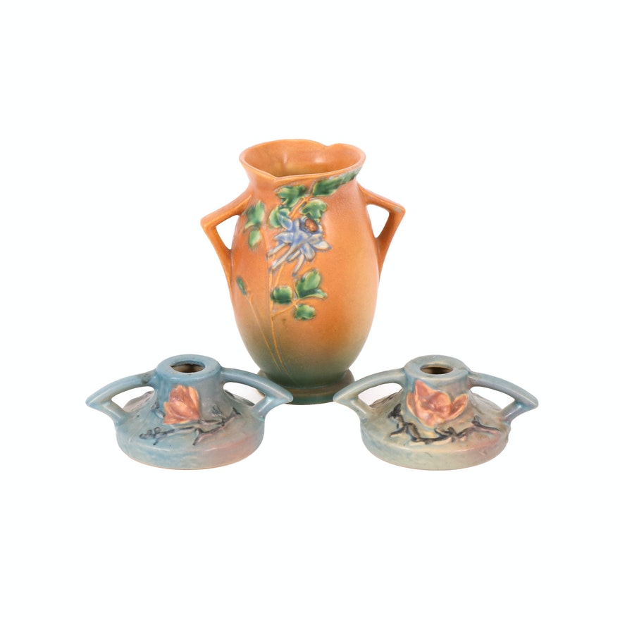 """Roseville Pottery """"Columbine"""" Vase and """"Magnolia"""" Candle Holders, Mid-20th C."""