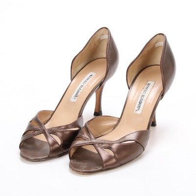 Manolo Blahnik Bronze Metallic Leather d'Orsay Pumps