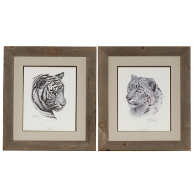 "Guy Coheleach Offset Lithographs ""Snow Leopard Head"" and ""White Tiger Head"""