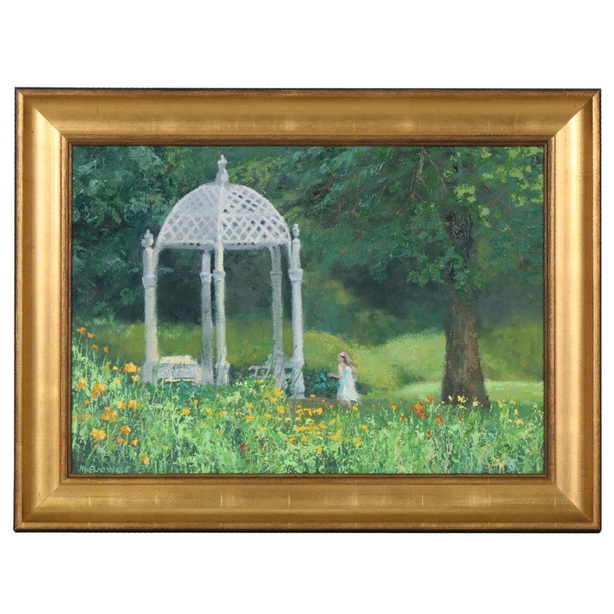 "Marcus Brewer Impasto Oil Painting ""Wedding Pavilion"""