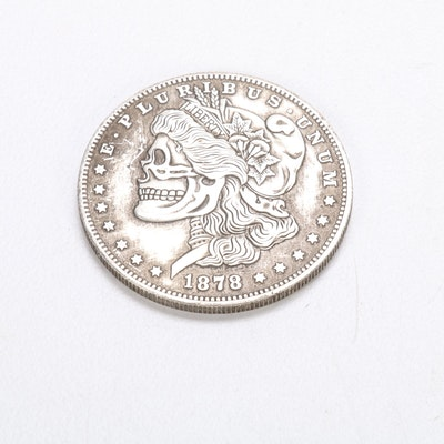 "Novelty ""Skeleton Dollar"" Fantasy Coin After 1878-CC Morgan Dollar"