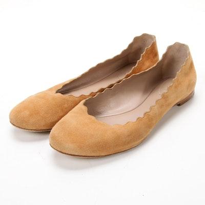 Chloé Wavy Edged Tan Suede Ballet Flats
