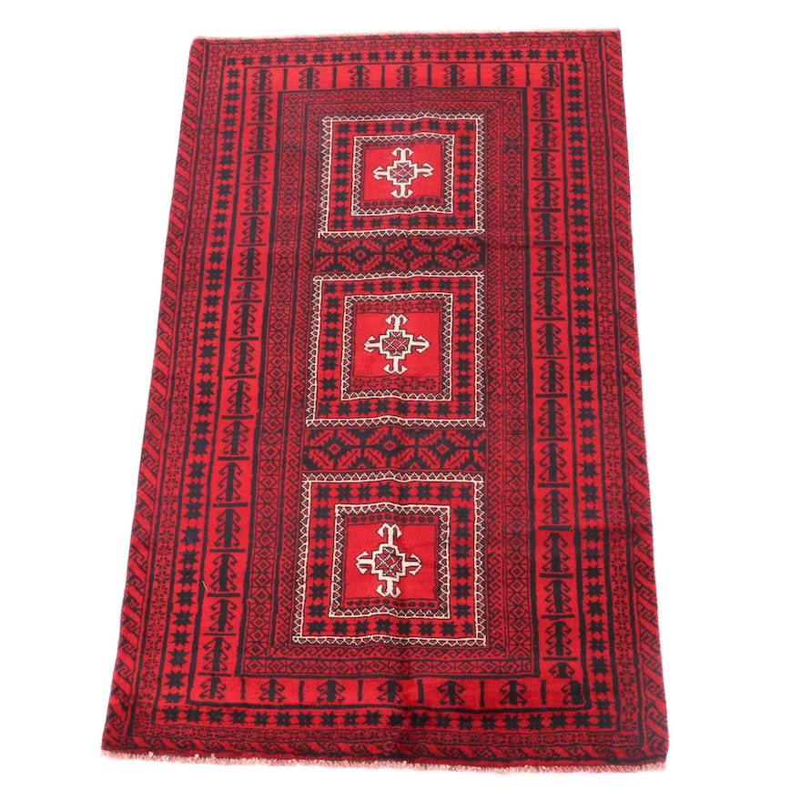 3'10 x 7'3 Hand-Knotted Afghani Baluch Wool Rug