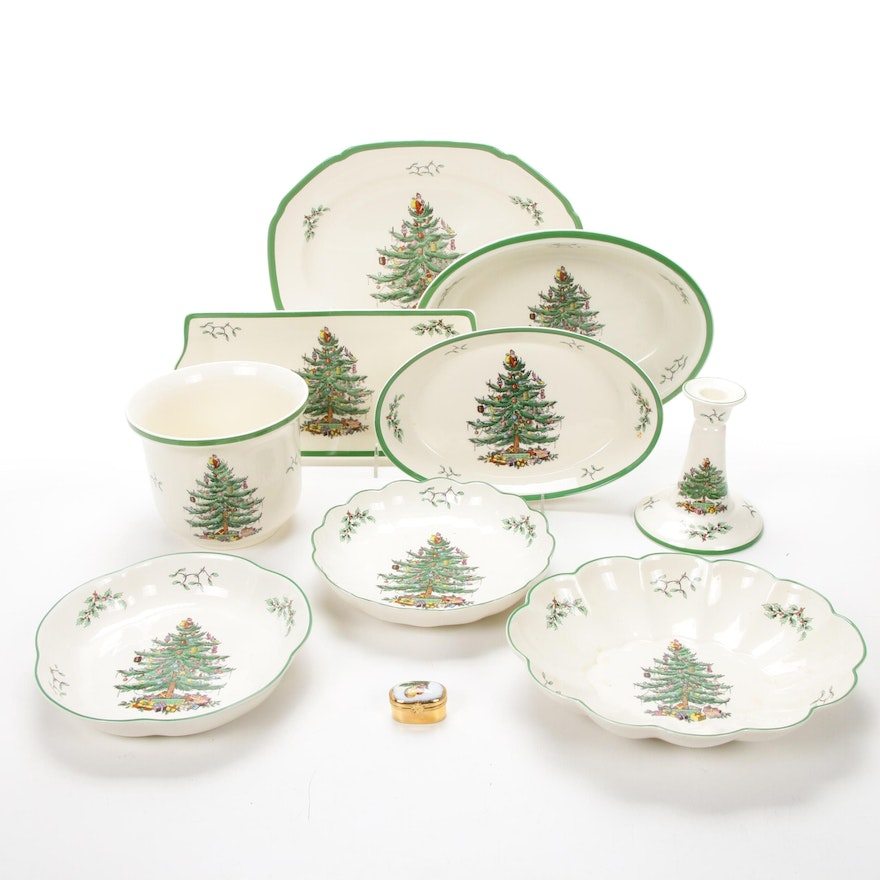 "Spode ""Christmas Tree"" Green Trim Serveware and Dubarry Gilt Limoges Box"