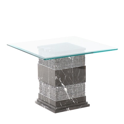 Marble Base Coffee Table with Glass Top, Contemporary