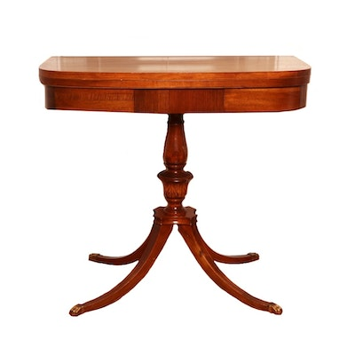 Duncan Phyfe Style Mahogany Swivel Top Games Table