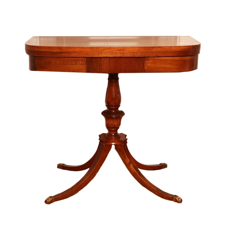 Duncan Phyfe Style Mahogany Swivel Top Game Table