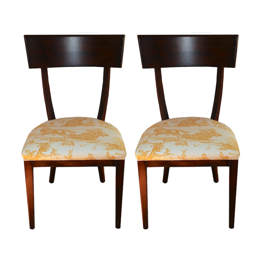 """Pair of Baker """"Milling Road"""" Espresso Finish Jeune-Toile Upholstered Side Chairs"""