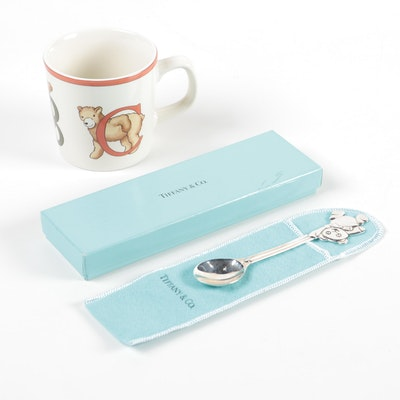 "Tiffany & Co. ""Alphabet Bear"" Ceramic Keepsake Cup and Sterling Silver Spoon"