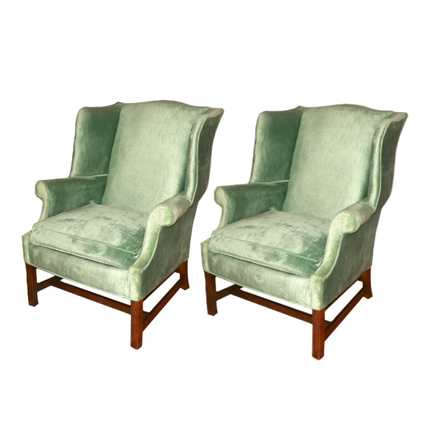 Pair of Frederick Edward Upholstered Wingback Armchairs