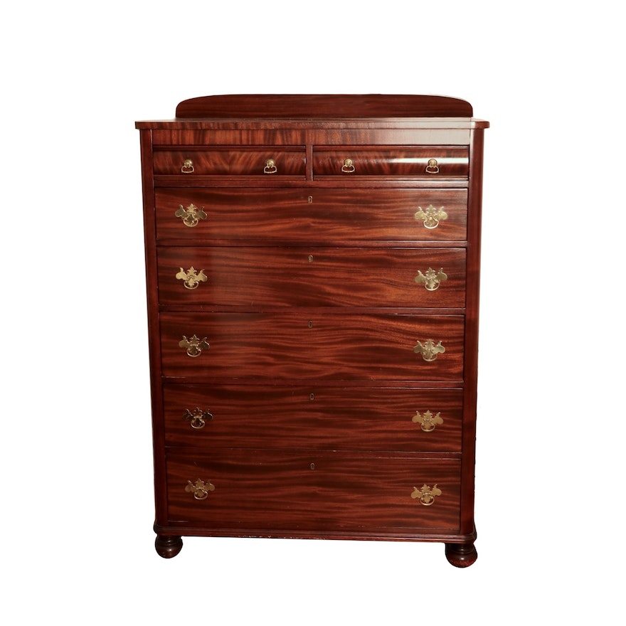Federal Style Flame Mahogany Chest of Drawers, 20th Century