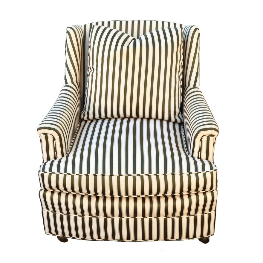 Contemporary Striped Upholstered Armchair