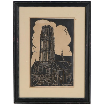 "Relief Print ""St. Laurens, Rotterdam"", Mid to Late 20th Century"