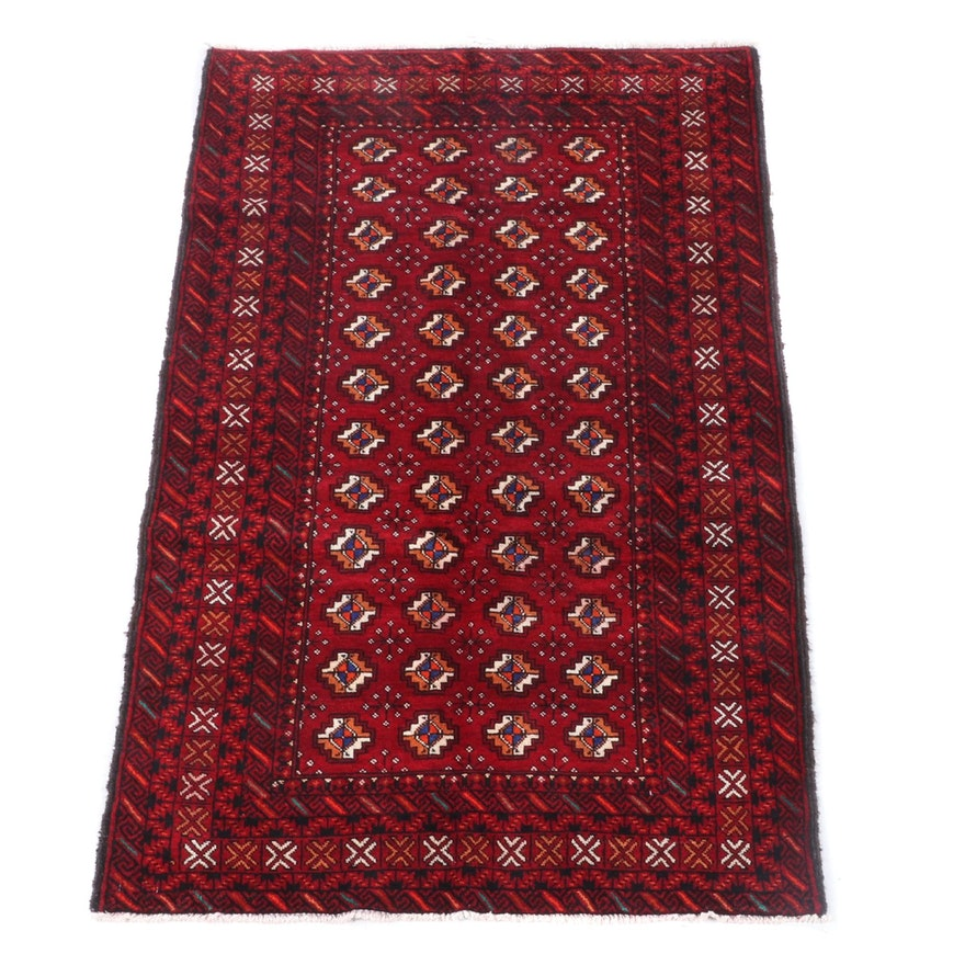 3'7 x 6'2 Hand-Knotted Afghani Baluch Wool Rug