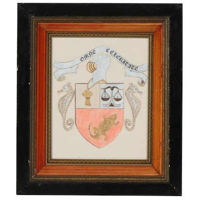 Family Crest Watercolor and Ink Painting