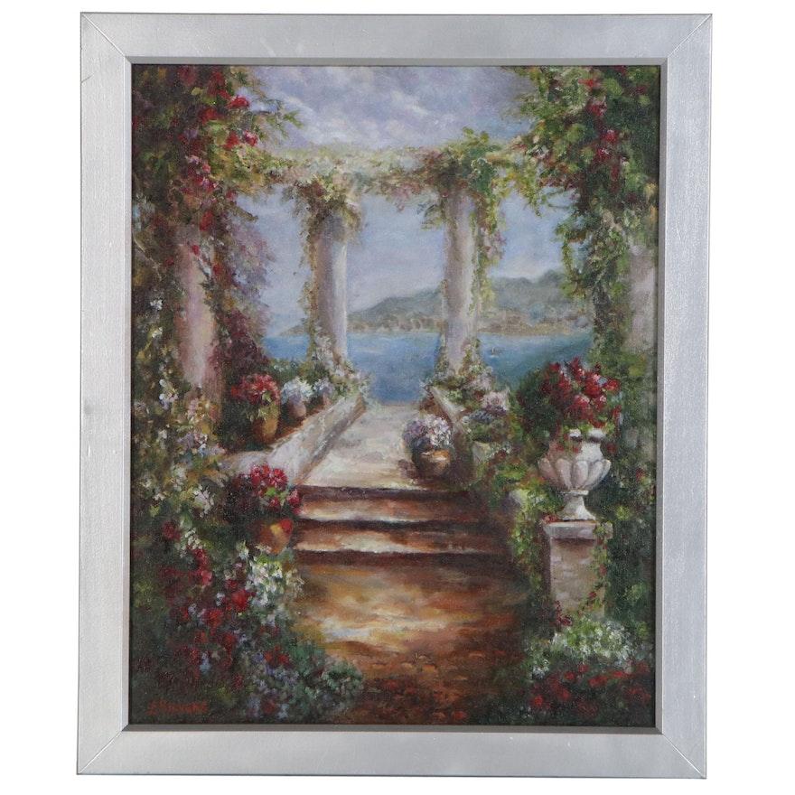 "Larissa Sievers Oil Painting ""Italian Veranda"", 2020"