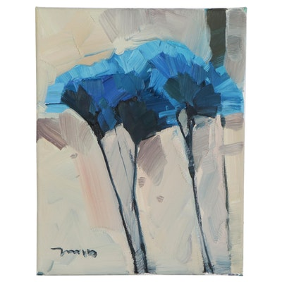 "Jose Trujillo Floral Oil Painting ""Blooming Blues"", 2020"