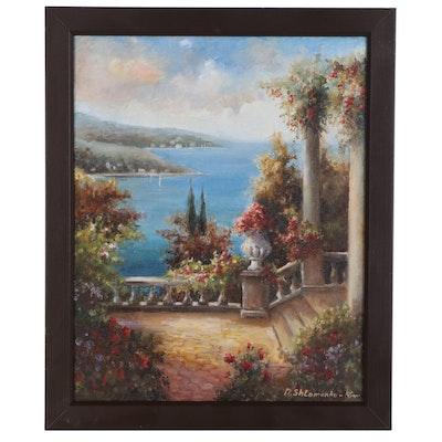 "Nataliya Shlomenko Oil Painting ""Romantic Ocean View"", 2020"