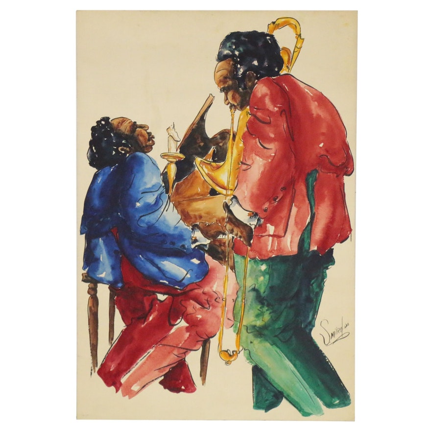 Michael Smiroldo Watercolor Painting of Jazz Musicians, Late 20th Century