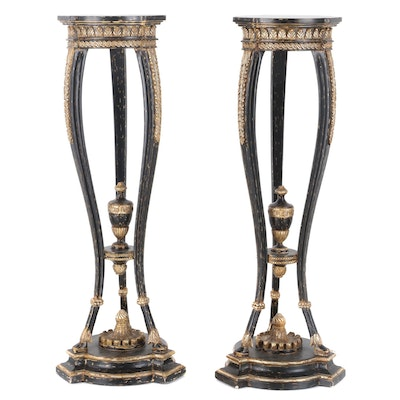Pair of Neo-Classical Style Parcel-Gilt, Ebonized Wood and Gesso Pedestals