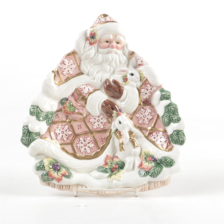 "Fitz and Floyd Classic Ceramic ""Snowy Woods"" Santa Serving Plate"