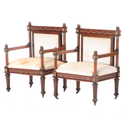 Pair of Empire Style Gilt Metal-Mounted and Inlaid Walnut Armchairs