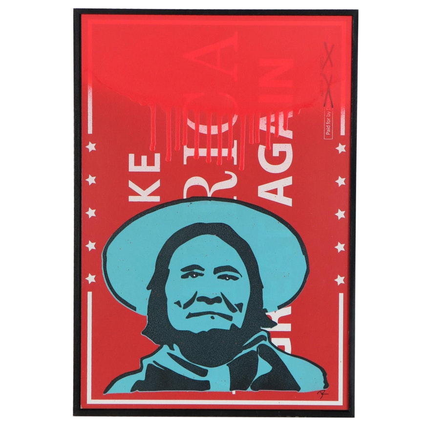 "Joshua Ramsey Pop Art Style Acrylic Painting ""Geronimo,"" 2020"