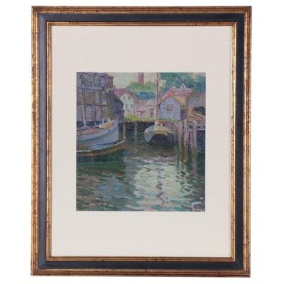 Elizabeth Jewell Dock Scene Oil Painting