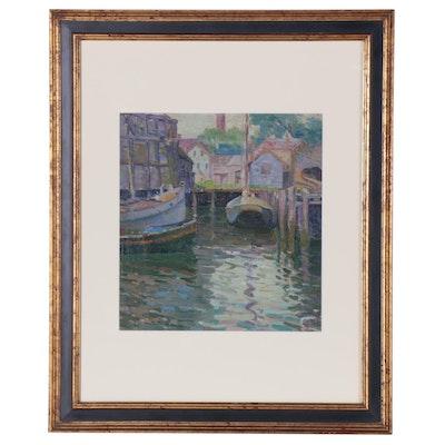 Elizabeth Jewell Dock Scene Oil Painting