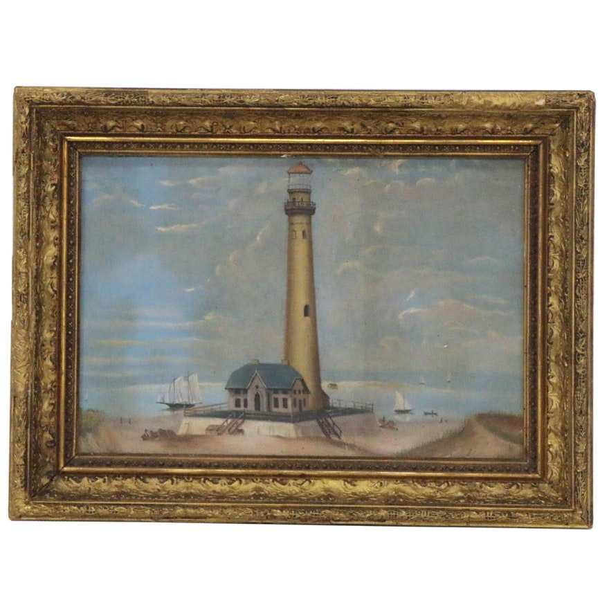 Naive Coastal Landscape Oil Painting, Late 19th to Early 20th Century