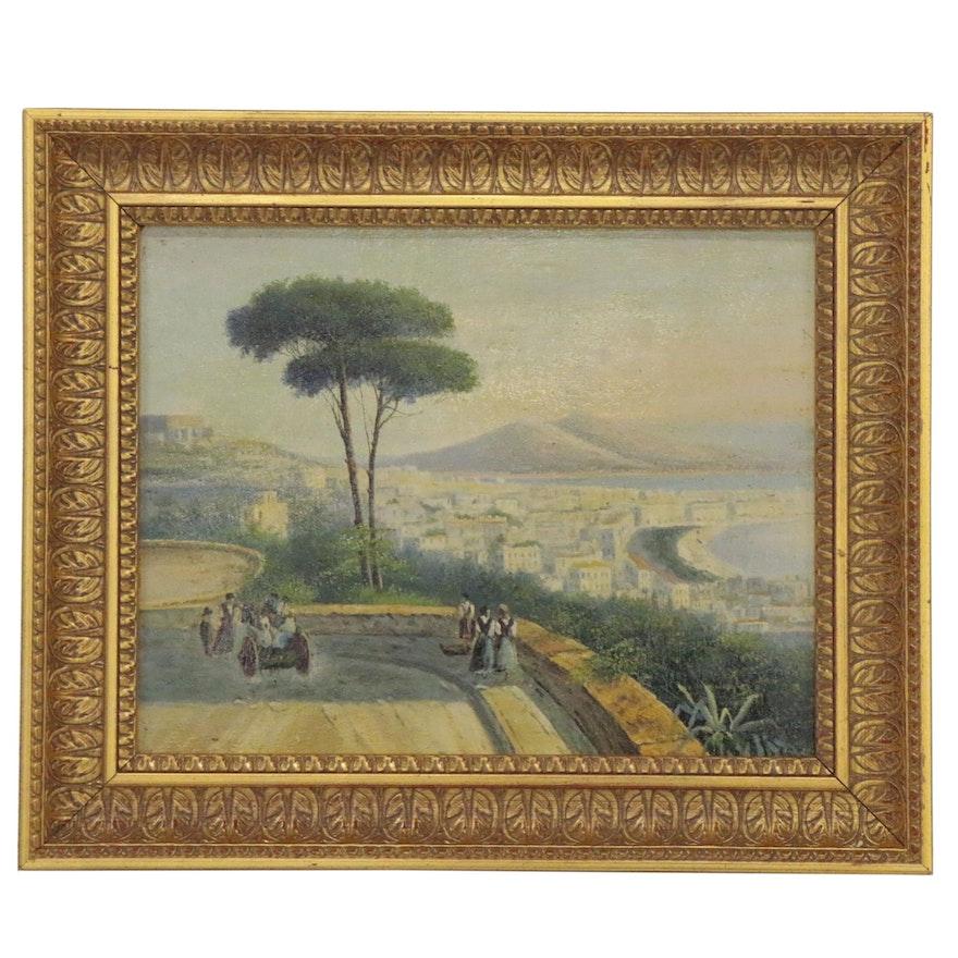 Neapolitan Folk Oil Painting, Early 20th Century