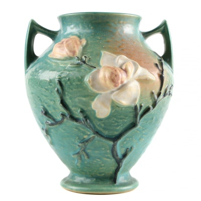 "Roseville Pottery Green ""Magnolia"" Vase, Mid-20th Century"