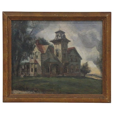Ben Stahl Landscape with Mansion Oil Painting, 1935