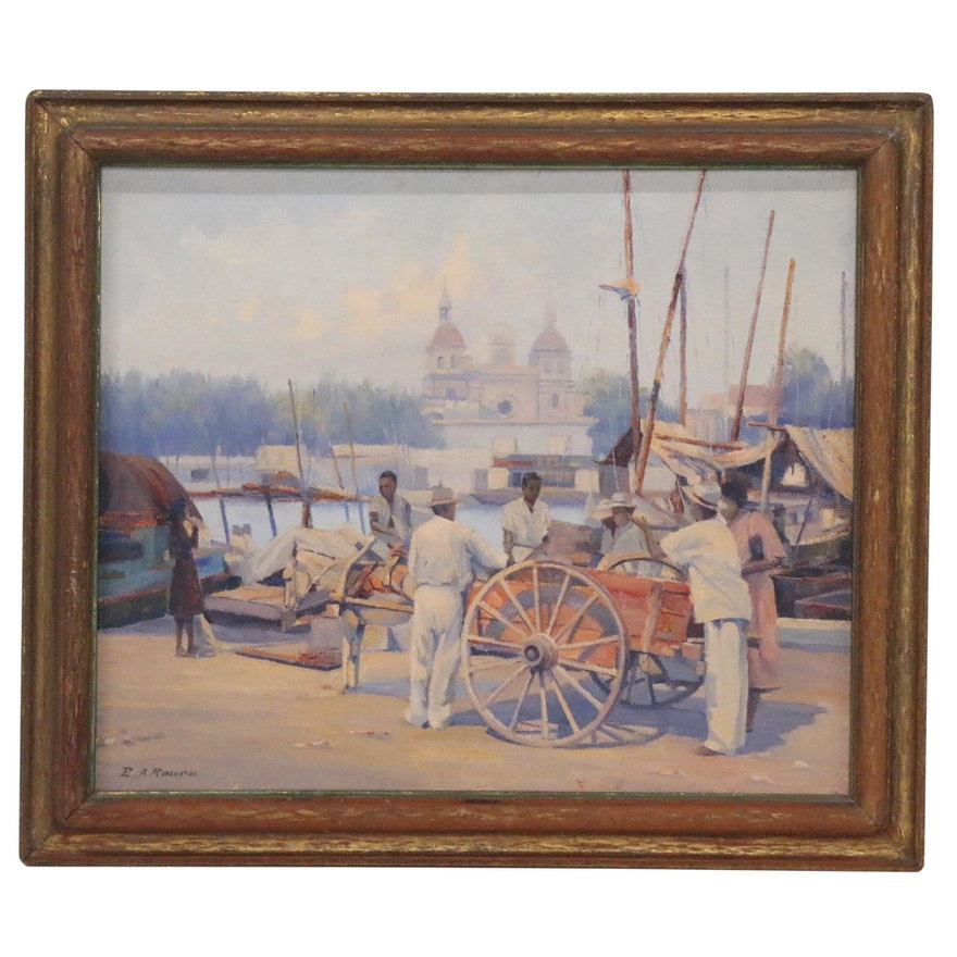 Emile A. Roure Oil Painting of Waterfront Scene